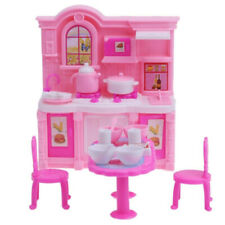 26PCS Barbie Doll Kitchen Furniture Table Cabinet Dinnerware Cooking Accessories