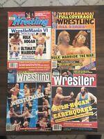 Wrestling Magazine 1990's - Lot of 4 Wrestling Magazines Hulk Hogan WrestleMania