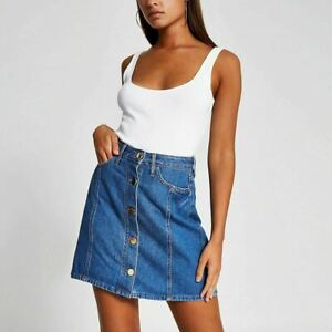 River Island Womens Blue Button Front Denim Mini Skirt