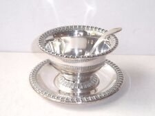 SILVER SOLDERED MAYO BOWL WITH MATCHING TRAY WILCOX SMALL CREAM LADLE  NEAR MINT
