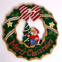 Vintage Merry Christmas Greeting Wreath Wooden Wall Hang Decoration