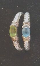 Peridot & Blue Topaz Stack Rings 10 Vintage Alx Ribbed Sterling Set of 2 Green