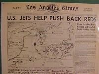 VINTAGE NEWSPAPER HEADLINE~KOREAN WAR US PLANES BOMB ATTACK NORTH KOREA WAR 1950