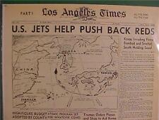 VINTAGE NEWSPAPER HEADLINE~KOREAN WAR US JET PLANES BOMB ATTACK NORTH KOREA ARMY