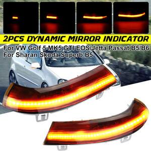 2x LED Dynamic Side lights Wing Mirror Indicator Turn Signal For VW Golf GTI MK5