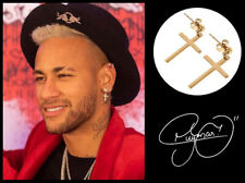 Men's/Boy's: Neymar 18ct 1 Pair Yellow Gold Plated 25mm Drop Hoop Cross Earrings