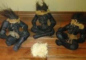 Vintage Sitting Man Hand Carved Wooden African Tribal Statue Ultra RARE set 3