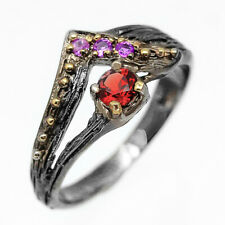 Antique Art Jewelry Natural Gemstone Garnet 925 Sterling Silver Ring/ RVS224