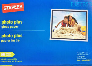 "Staples Photo plus gloss paper 60 sheets for ink jet printers 4"" x 6"" 72 lbs"