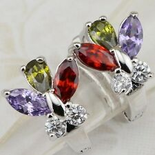 Great Nice Colorful Butterfly Gems Gold Filled Huggie Woman Gift Earrings H1405