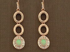 E103 Lovely Genuine 9ct Rose Gold NATURAL Opal & Diamond Drop Earrings Journey