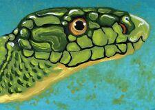 ACEO ATC Original Art Miniature Painting Green Mamba Snake Art-Carla Smale