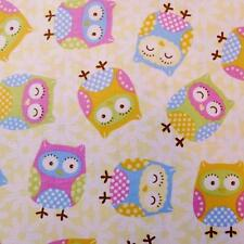cute night owl flower on pale yellow cotton fabric 1/2 YARD