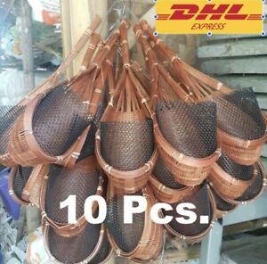 10x Bamboo Pot Garden Plant Hanging Woven Basket Planter Flower Decor Orchid DHL