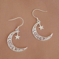 Solid 925 Sterling Silver Filigree Crescent Moon Star Dangle Drop Earrings Boxed