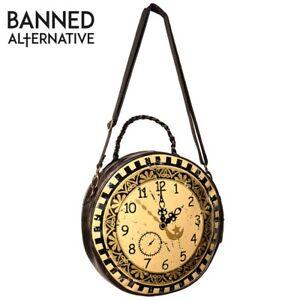 Banned Apparel Vintage Clock Circular Round Steampunk Cross Body Shoulder Bag