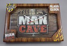 MAN CAVE GLASS ANALOGUE CLOCK BAR POOL ROOM GARAGE