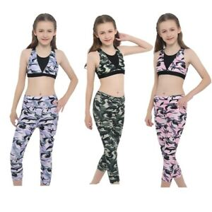 Girls Sleeveless Sports Outfits Stretchy Yoga Ballet Bra Top+Legging Athletic