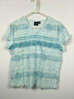 NWOT Sonoma Short Sleeve Shirt Top Tee Womens Petite PXL Blue Floral V Neck