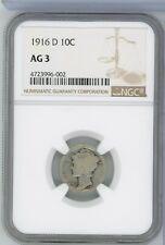 1916-D Silver Mercury Dime NGC AG 3 Certified - Denver Mint - RW370