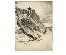 A Kansas City Bluff by Ralph M. Pearson antique etching Hand signed in Pencil