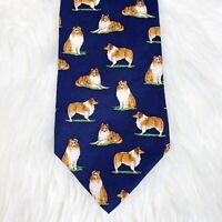 Shetland Sheepdog Neck Tie Necktie 100% SILK Classic Length Alynn Neckwear