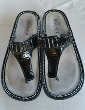 Alegria by PG Lite Adj. Beaded T-Strap Thong Wedge Fashion Sandals 7.5-8/38EUR
