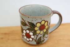 Vintage Speckled Stoneware Coffee Cup Mug Hand Painted White Yellow Flower