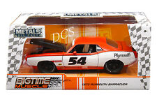 JADA BIGTIME 1973 PLYMOUTH BARRACUDA #54 1/24 ORANGE WHITE DIECAST CAR 99086