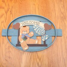 Teddy Bear Welcome Blue Oval Home Decor Sign