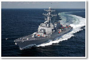 US Navy Destroyer on Maneuvers - Military Print POSTER