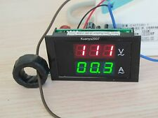 Digital Ac 300V 100A Red & Green Led Dual Panel Volt Amp Combo Meter + Ct