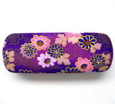 Japanese Purple Floral Print Eyeglass/Sunglasses Clam Shell Hard Case