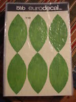 Vintage Retro BSB EURODECAL TRANSFER Green Leaves