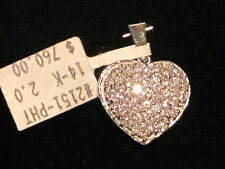 STUNNING! 1.02TW PAVE DIAMOND 14K WHITE GOLD HEART PENDANT NEW WITH TAGS