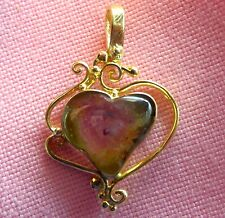 14k Sold Yellow Gold Genuine Watermelon Tourmaline Heart Shape Pendant  skaisF17