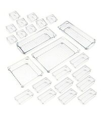Qozary 23 Pack Clear Plastic Drawer Organizer Containers Storage For Desk Drawer