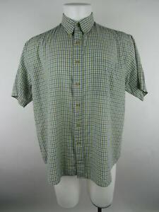 Claybrooke Men sz L Multicolor Polyester Plaid Short Sleeve Button-Front Shirt