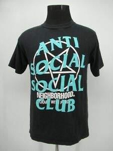 P8279 Men's Antisocial Club Graphic Spell-Out T-Shirt Size M