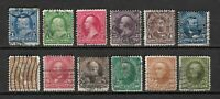 USA: 1894 Group Lot 12 PRESIDENTS Triangles FU 1c to 6c, 8c, 10c & 15c