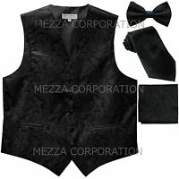 New Men's Vesuvio Napoli Paisley Tuxedo Vest Necktie, Bowtie & Hankie set Black