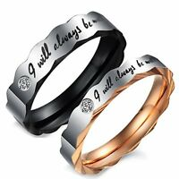 "MENDINO Men's Women's Stainless Steel Ring ""I Will Always Be with You"" Couples"