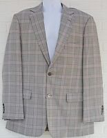 ALLEN EDMONDS MENS 42T WOOL BLAZER PLAID JACKET PURPLE GRAY TARTAN USA TALL EUC