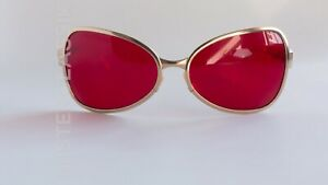 Oliver Peoples OP-524 col Matte Gold w/ Fight Club Blood Red lenses size 61-18