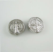 200pcs of Round Alloy Rosary Spacer Beads Saint Benedict Medals