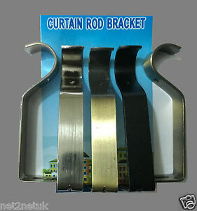 Heavy Duty Gold Black,Silver Metal Curtain Pole Wall Brackets-Fixings Rod Holder
