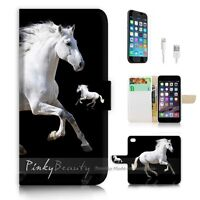 ( For iPhone 7 ) Wallet Case Cover P0944 White Horse
