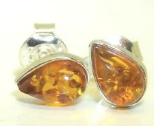 Amber Pear Stud Earrings 925 Sterling Silver Cabochon Tear Drop Cognac Amber