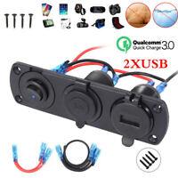 AU 12V Car Auto Boat Cigarette Lighter Socket +Dual USB Port Charger Mount Panel