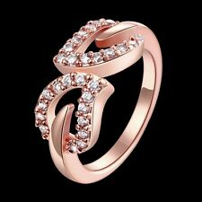 18K Rose Gold GP Swarovski Crystal Cute Leaves Wedding Engagement Ring Size 8